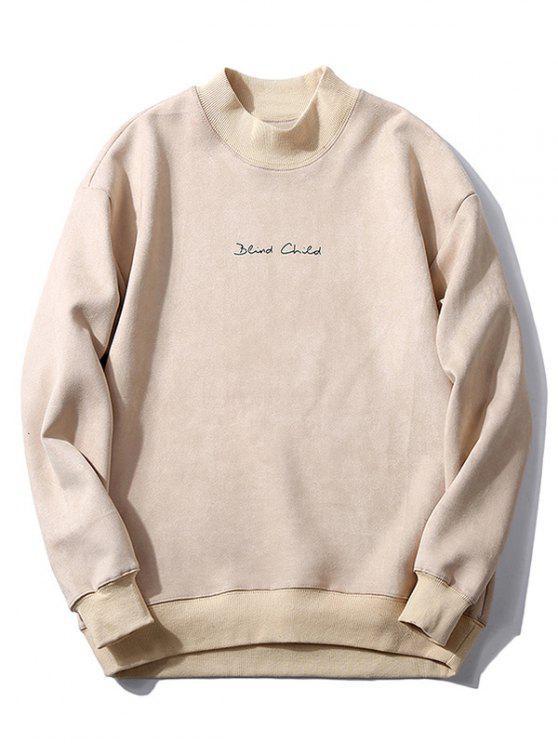 Sweat-shirt Lettre en Poitrine en Couleur Unie en Daim - Blanc Chaud L