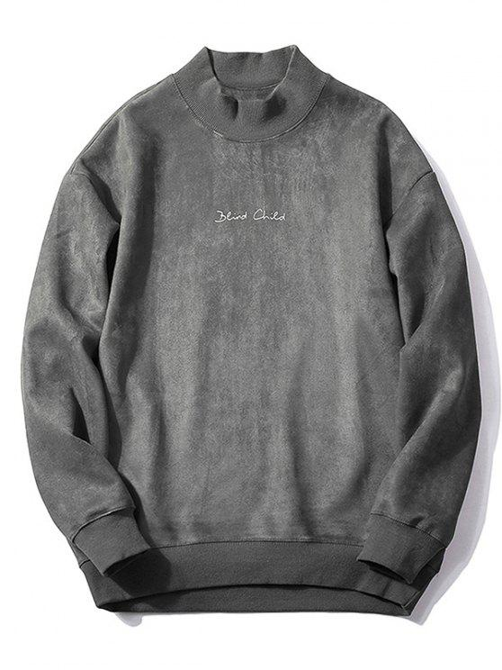 best Chest Letter Print Solid Color Suede Sweatshirt - DARK GRAY L