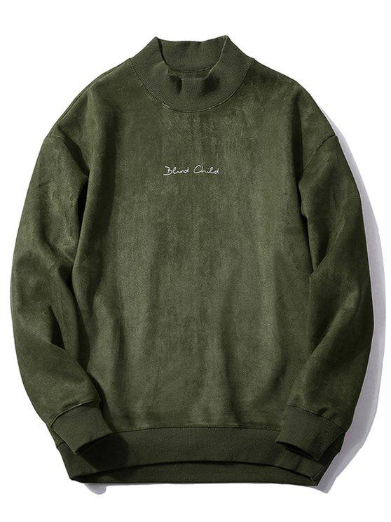 online Chest Letter Print Solid Color Suede Sweatshirt - ARMY GREEN XS