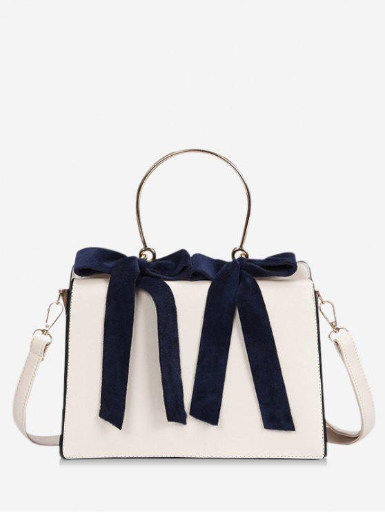 women's Bowknot Metal Handle Handbag - BEIGE