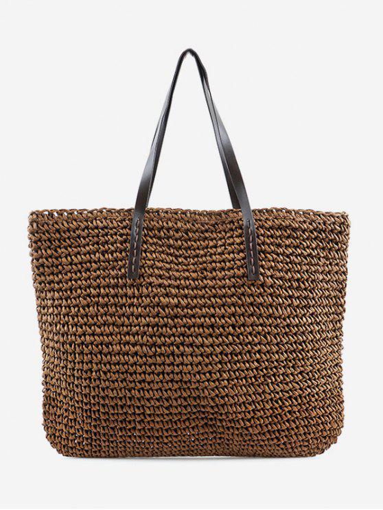 Bolsa de ombro trançada de palha minimalista - Castanha