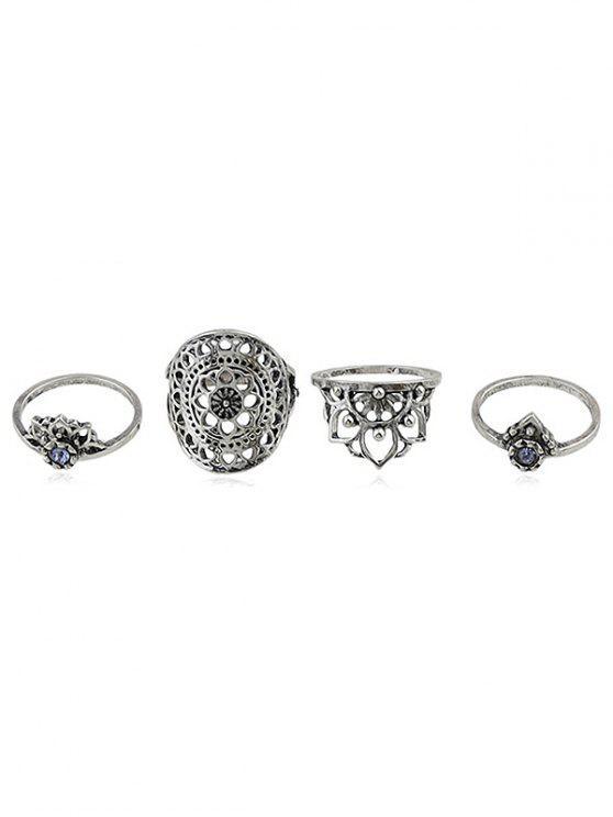 Rhinestone-hohle Blumen-Finger-Ring-Satz - Silber Einheitsgröße