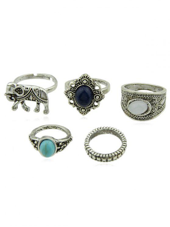 shop Artificial Gem Elephant Designed Finger Rings Set - SILVER ONE-SIZE
