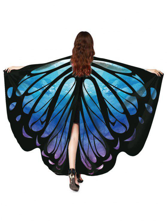 Écharpe châle vintage papillon décorative - Bleu acier