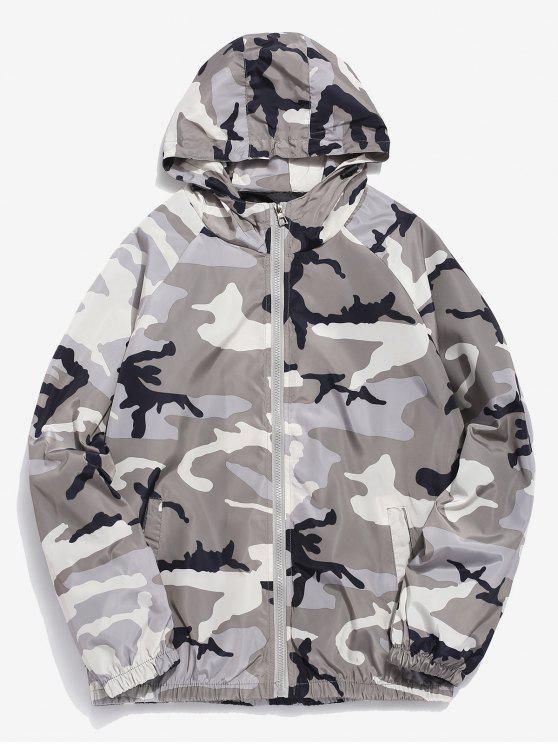 Chaqueta con capucha y estampado de camuflaje impermeable - Gris Claro XL