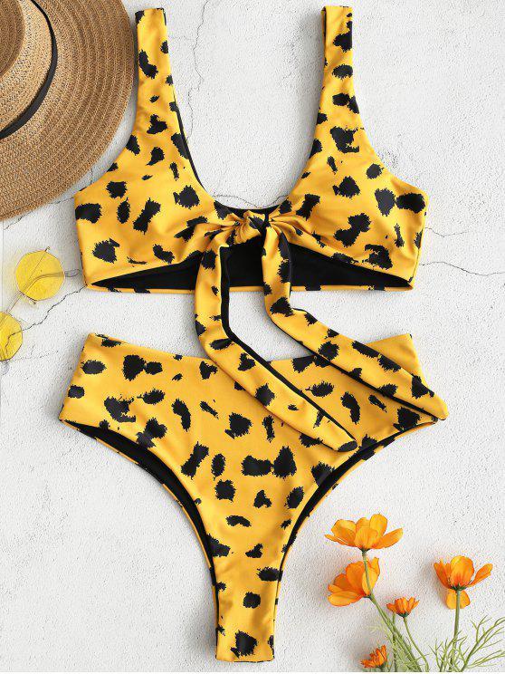 fancy ZAFUL Leopard Tie Front High Waisted Bikini Set - GOLDEN BROWN M