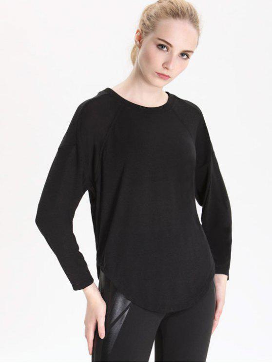 outfits Curve Hem Long Sleeve T-shirt - BLACK M