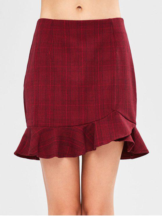 affordable Ruffle Checked Mini Skirt - RED WINE L