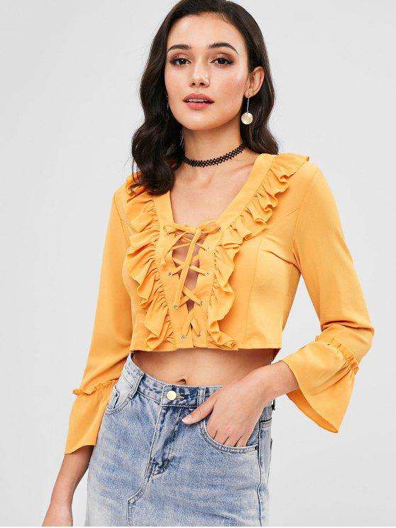 best Ruffle Front Lace Up Crop Top - YELLOW M