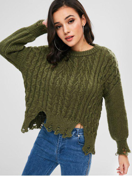 chic Cable Knit Distressed Drop Shoulder Jumper - ARMY GREEN ONE SIZE