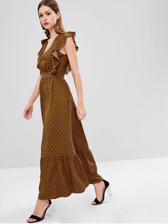 ladies ZAFUL Maxi Ruffled Polka Dot Plunge Dress - BROWN M