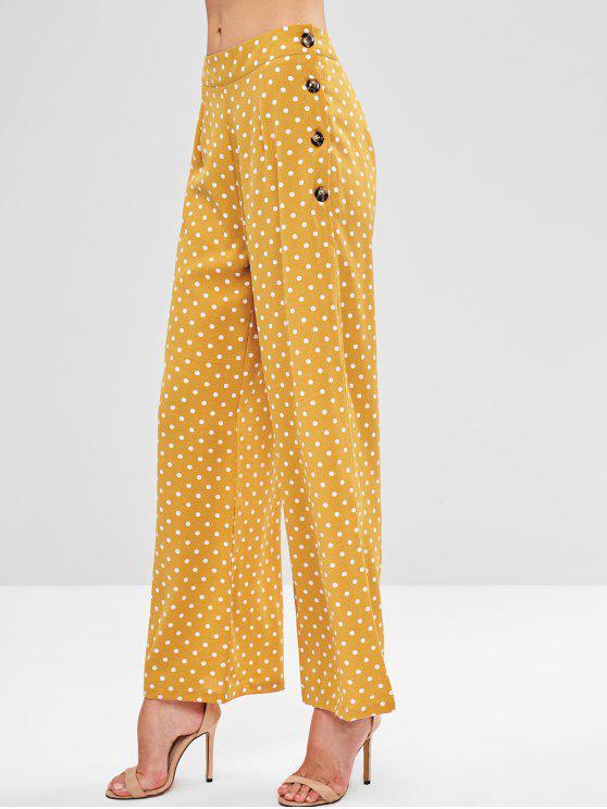 Calças de bolinhas com abas largas ZAFUL - Marrom Dourado L