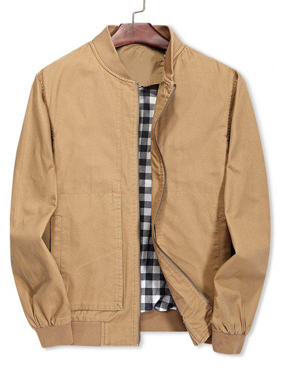 lady Solid Color Stand Collar Jacket - LIGHT KHAKI XS