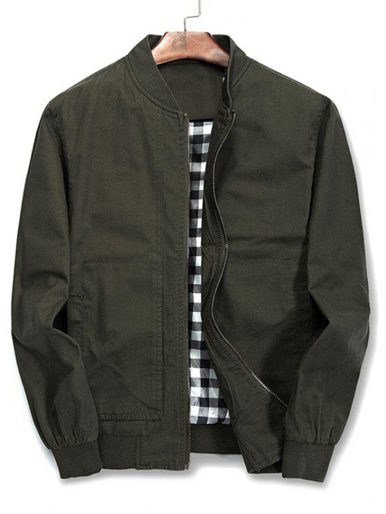 trendy Solid Color Stand Collar Jacket - ARMY GREEN XL