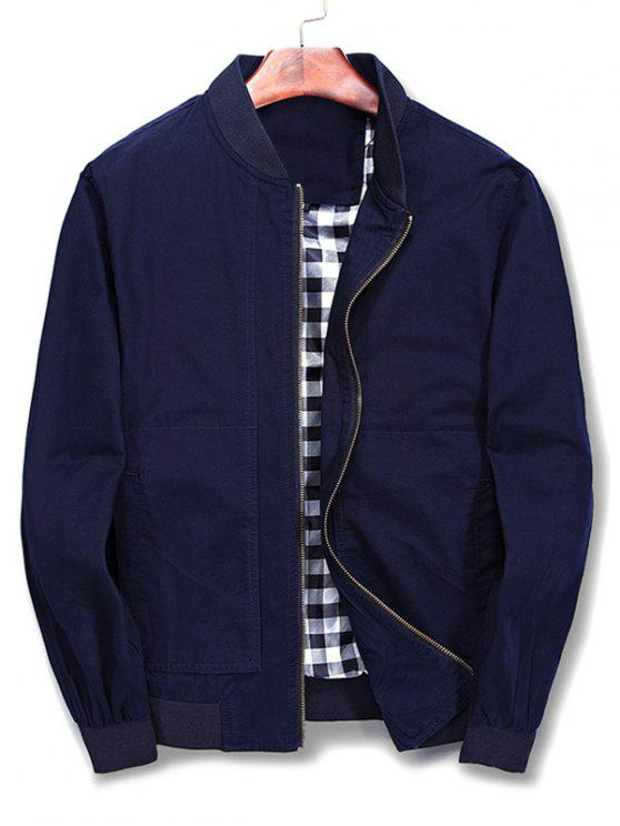 affordable Solid Color Stand Collar Jacket - BLUE XL