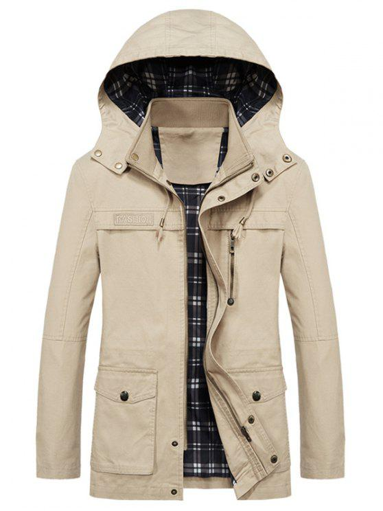 outfits Casual Flap Pocket Slim Coat - BEIGE S