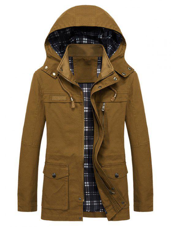 Casual Flap Pocket Slim Coat - Marrón Dorado XS