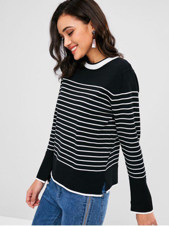 Schlitz-Streifen-Pullover - Schwarz Eine Größe