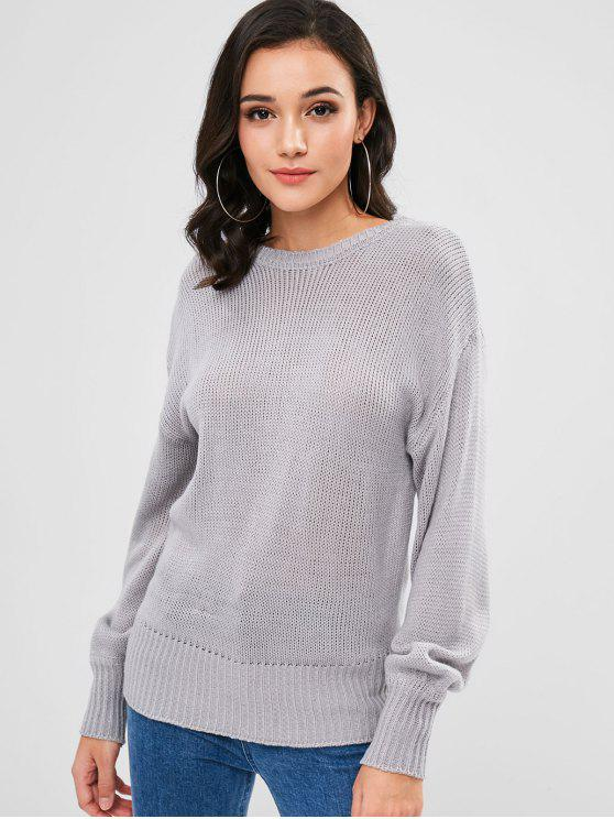 chic Tie Open Back Sweater - GRAY GOOSE ONE SIZE
