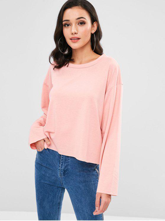 new Raw Hem Oversized Sweatshirt - FLAMINGO PINK S