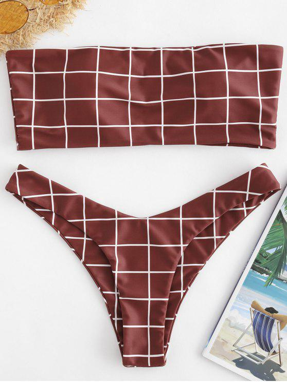 trendy ZAFUL Plaid Bandeau High Leg Bikini Set - RED WINE S