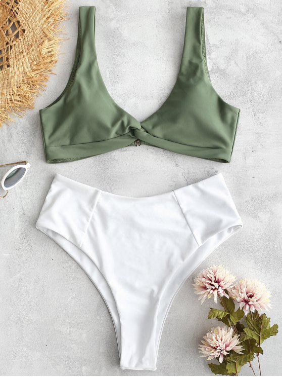 ZAFUL Bikini de Bloques de Color Trenzado - Verde Marrón Claro S