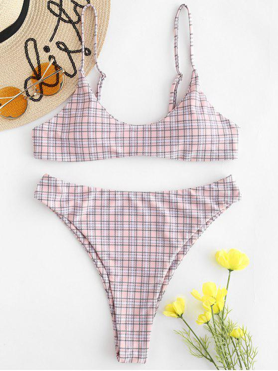 women ZAFUL High Leg Plaid Bikini Set - PINK BUBBLEGUM S