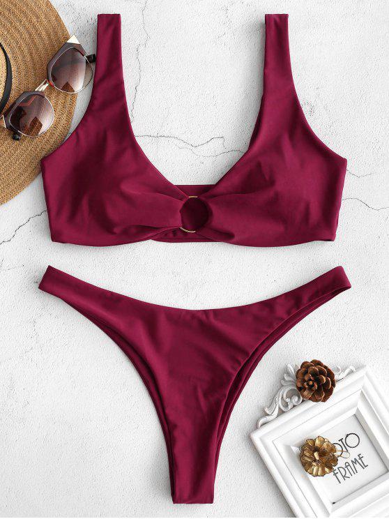 Conjunto de bikini de talle bajo con adornos en forma de anillo ZAFUL - Vino Tinto L