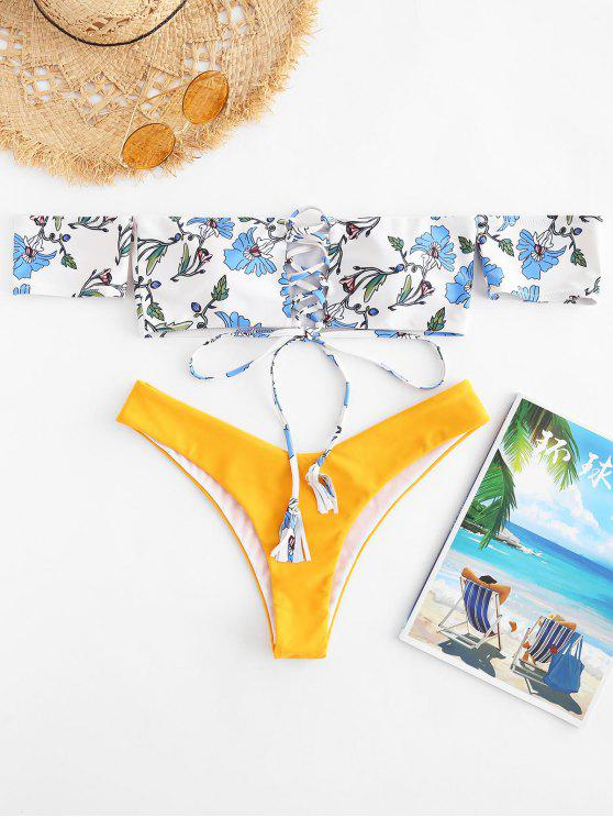 ZAFUL Off Houlder High Leg Bikini Set - Multicolor L