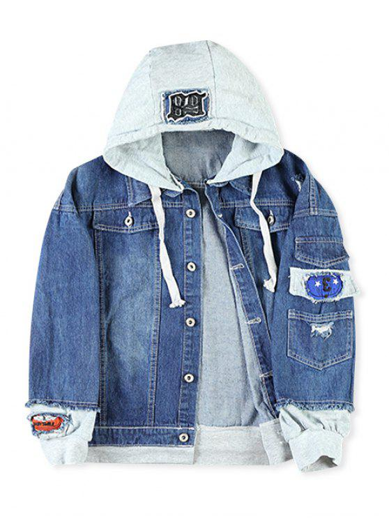trendy Casual Faux Pocket Ripped Letter Number Applique Hooded Jacket - DEEP BLUE 2XL