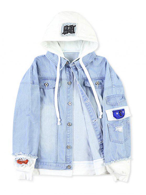 Casual bolso falso rasgado carta número Applique casaco com capuz - Azul Claro M