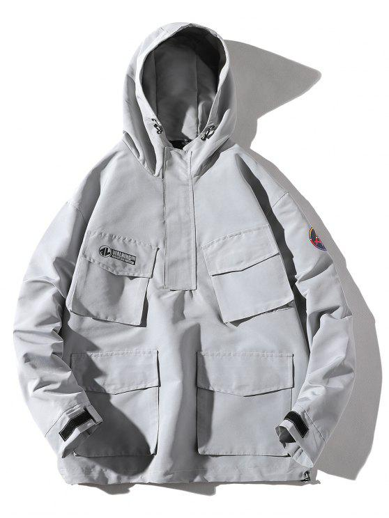 buy Multi-pocket Hooded Windproof Jacket - GRAY GOOSE 3XL
