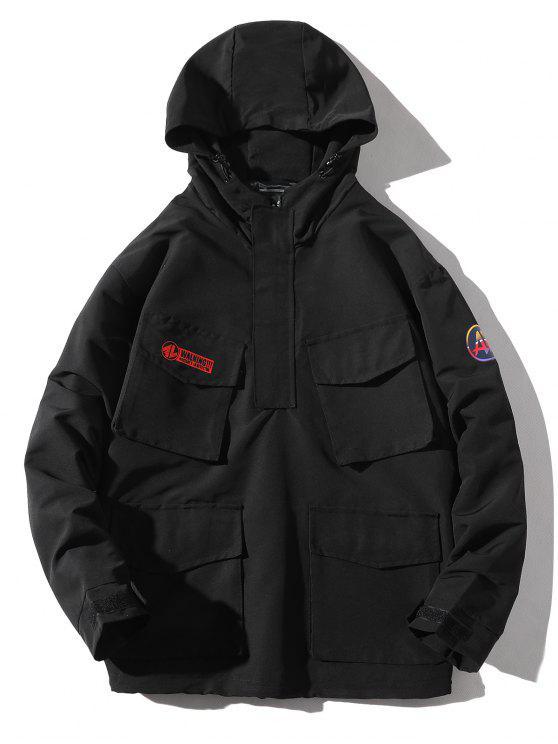 online Multi-pocket Hooded Windproof Jacket - BLACK 4XL