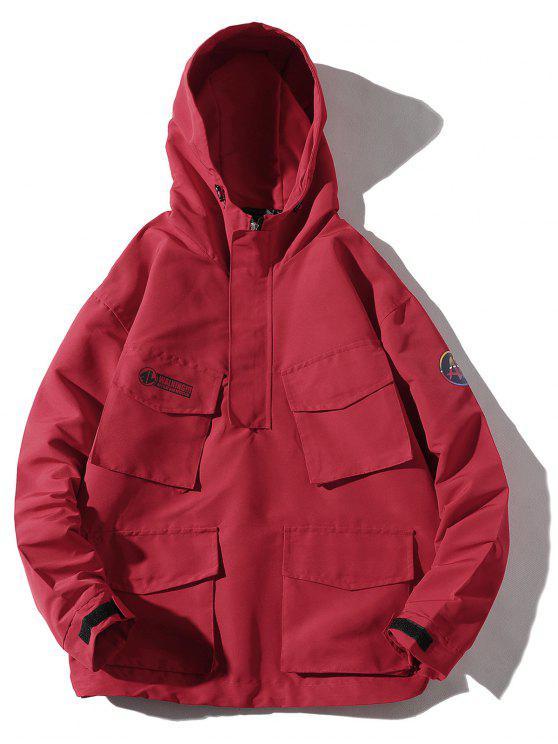 shop Multi-pocket Hooded Windproof Jacket - RED 3XL