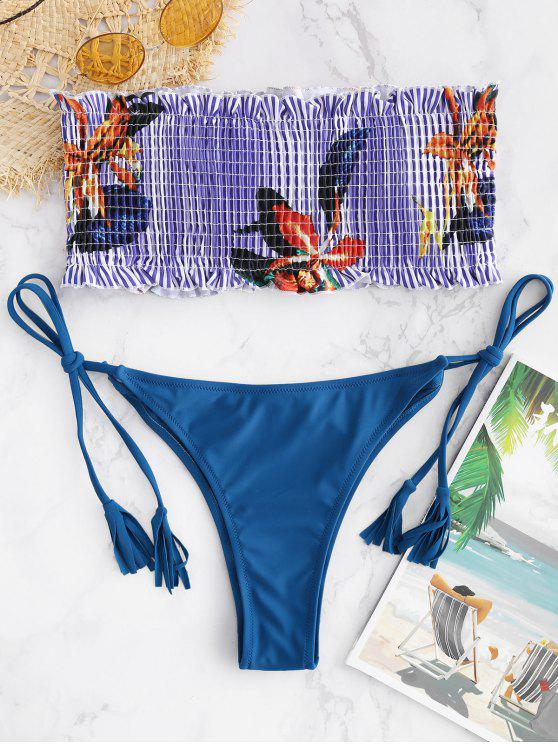 women ZAFUL Plant Print Striped Smocked Bandeau Bikini - ROYAL BLUE M
