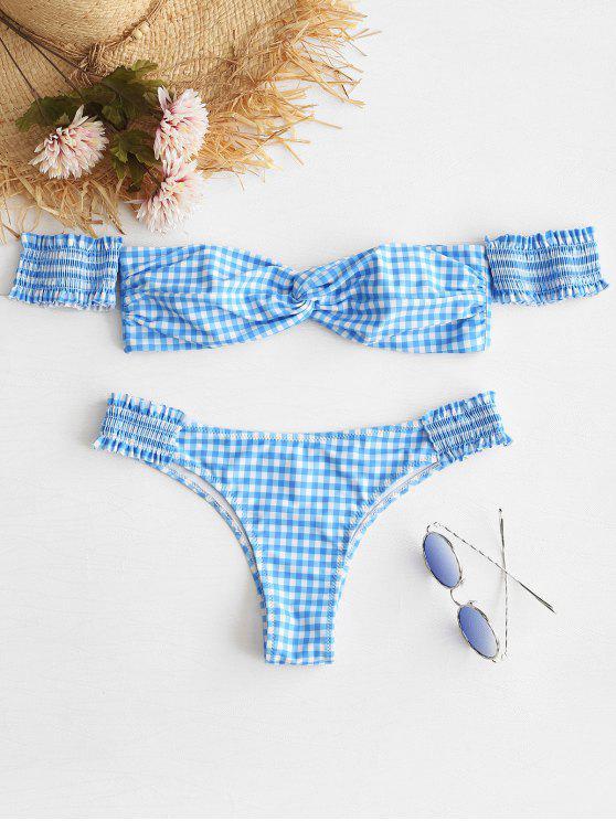 outfit ZAFUL Shirred Twist Gingham Bikini Set - MULTI S