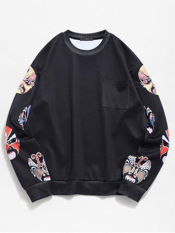 lady ZAFUL Peking Opera Masks Print Sweatshirt - BLACK M