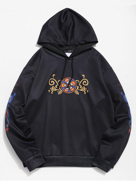 trendy ZAFUL Floral Dragon Print Hoodie - BLACK L