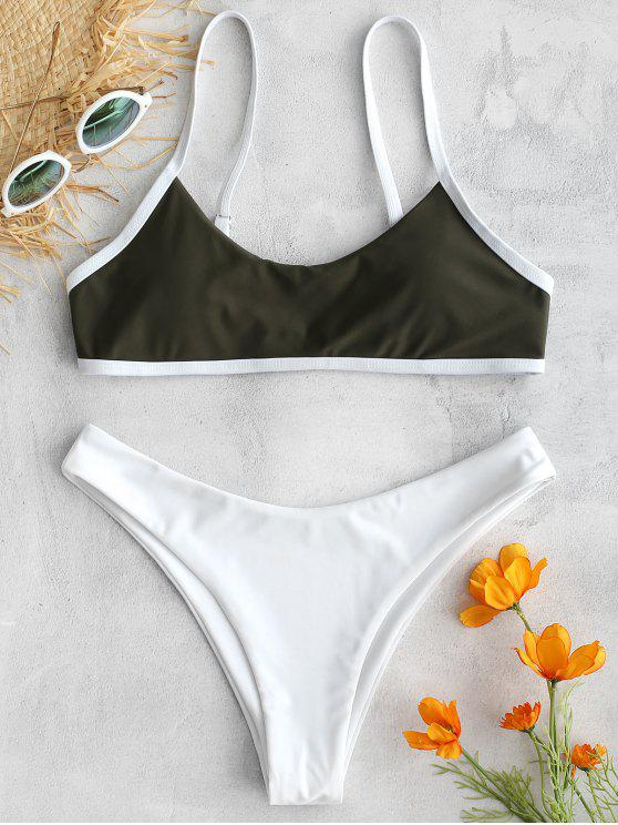 womens ZAFUL Contrasting Trim Bralette Bikini Set - HAZEL GREEN L