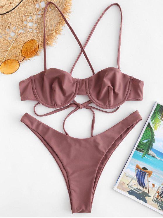 unique ZAFUL High Cut Criss Cross Bikini Set - ROSY FINCH L