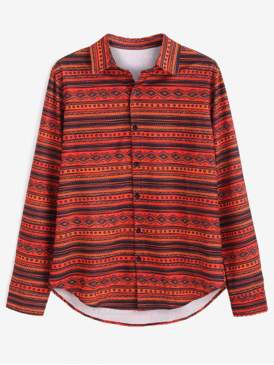 lady ZAFUL Ethnic Print Button Up Shirt - MULTI S