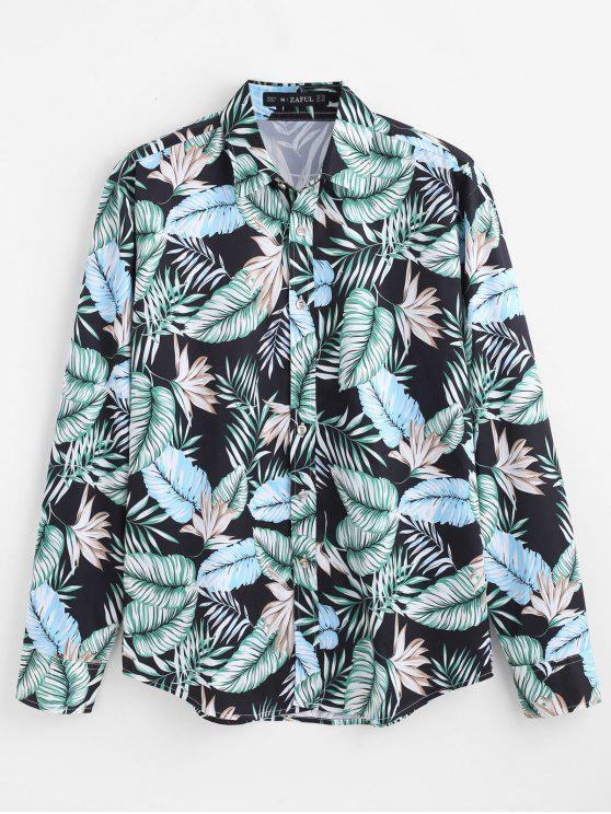 shop ZAFUL Casual Tropical Leaves Printed Shirt - MULTI S