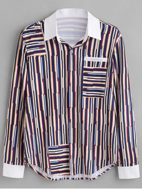shops ZAFUL Fake Pocket Patch Striped Shirt - MULTI XL
