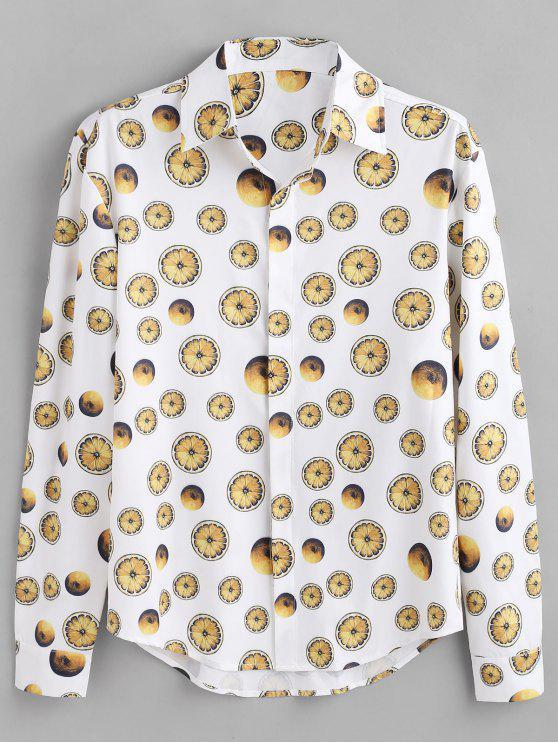 ladies ZAFUL Lemon Print Button Hidden Shirt - WHITE S