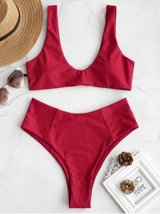 fashion ZAFUL High Waisted Scoop Bikini Set - LOVE RED L