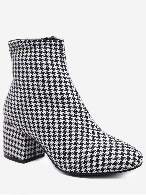 women Houndstooth Chunky Heel Ankle Boots - BATTLESHIP GRAY 39