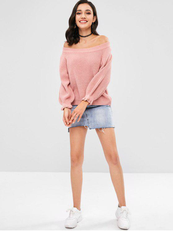 Ruffled Off Shoulder Lantern Sleeve Sweater - Light Pink M