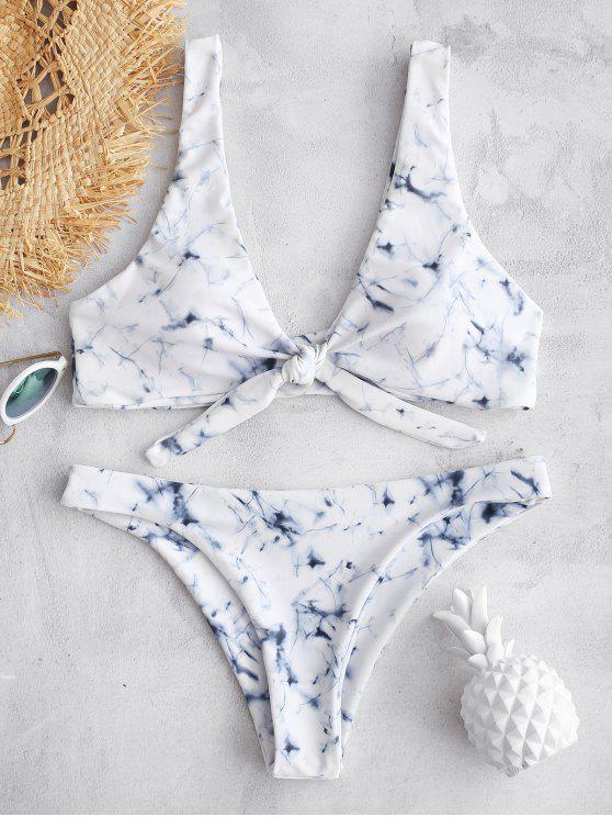 ZAFUL Marble Tie Dye Plunge Knot Bikini - Multicolor S