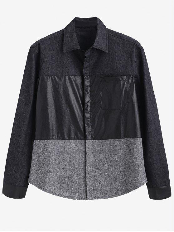 unique ZAFUL PU Patchwork Contrast Shirt - SMOKEY GRAY L