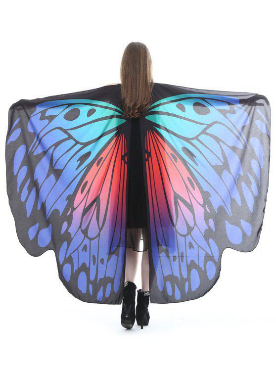 Mantello Plus Size In Seta Con Motivo Di Farfalla - Grigio Blu